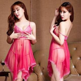 Women Sexy Lingerie Set Dress Nightwear  Sleepwear + G-string Babydoll