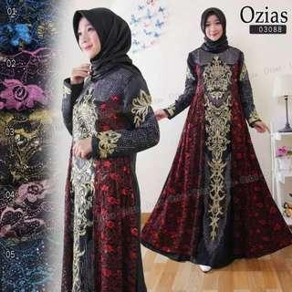 Pre order Ozias 03088 maxi dress long sleeve Muslimah red blue