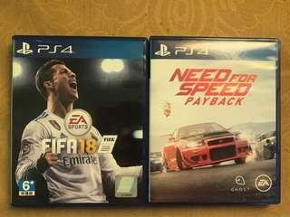 NFS PAYBACK & FIFA 18 Ps4 Game