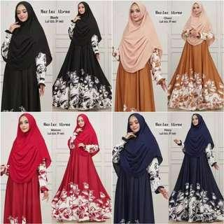 Pre order maxi dress long sleeve Muslimah max lux alzena blue red black