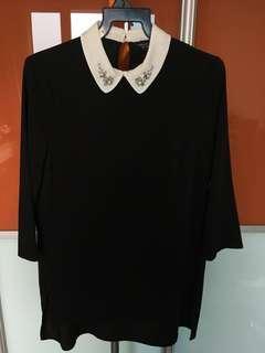 Dorothy Perkins Black Bejewelled Collar Tunic UK8
