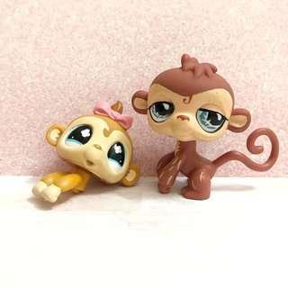 Littlest pet shop/lps Monkeys - baby (missing body) and postcard