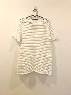 Zara White Knit Mesh Stripes Top