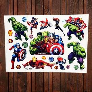 Avengers party supplies - Avengers temporary tattoos / party gifts / goodie bag gifts
