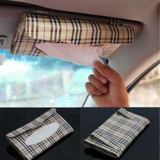 Car Sun Visor Tissue Box Case Holder Auto Interior Decoration Accessories Napkin Clip PU Leather