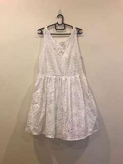 [Plus Size] New Look 2 Way Floral Crotchet Lace White Dress