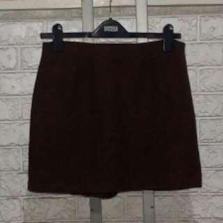 Dark Brown A Line Mini Skirt Waist 29 Inches