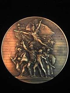 1888 France Lady Marianne The Volunteers at Marseille Very Large Bronze Award Medal by Le Mulhauser Tagblatt Journel. Relatively Rare. Heavy & High 3D Relief.