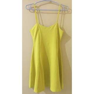 Zara TRF Lemon Yellow Dress