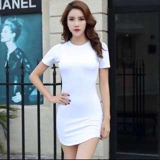 White Bodycon Tshirt Dress
