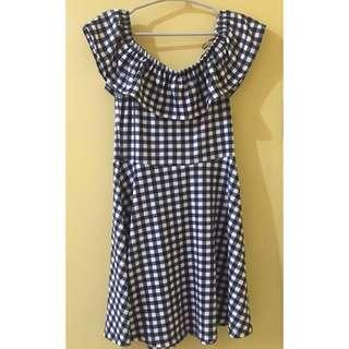 Cotton On Checkered Off-shoulder Dress