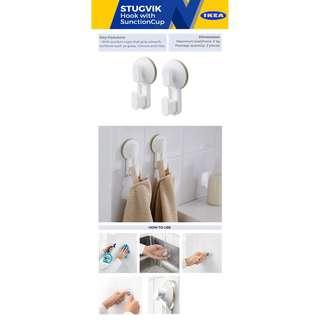 IKEA STUGVIK Hook with suction cup, white Set of 2