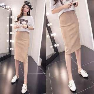 High waisted zipper skirt brown