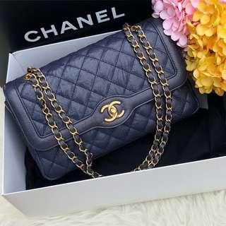 ❌SOLD!❌ Chanel Medium Flap in Navy Blue Distressed Caviar Aged GHW