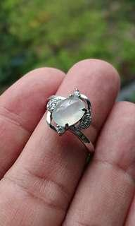 Icy White Jadeite Cabochon on 925 Silver Ring. 白冰缅甸玉翡翠925银女戒。