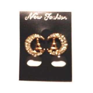 Fashion 1pair Women's Zircon Gold Plated Earrings