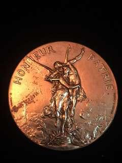 """1891 France Marianne & The Nude Angel Lyon National Shooting Medal - 'Honneur Patrie' - """"For the Homeland!"""". Very Large Bronze Medal, Relatively Rare. Heavy, High-3D Relief."""