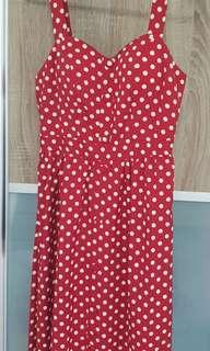 Red with white polka dot dress no sleeves