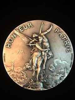 """1886 France Marianne & The Nude Angel National Shooting Society Award Medal - 'Honneur Patrie' - """"For the Homeland!"""". Very Large Silvered Bronze Medal, Relatively Rare. Heavy, High-3D Relief."""