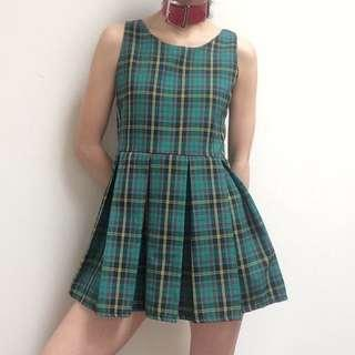 🚚 Omighty Green Checkered Mini Dress