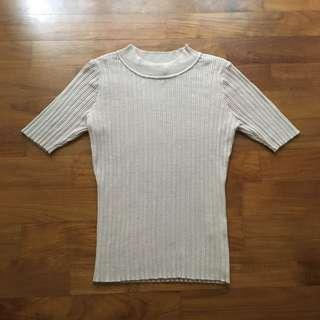 TEMT Nude Ribbed Top