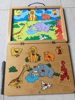8-Piece Animals Wooden Peg Puzzles In Magnetic Wooden Box