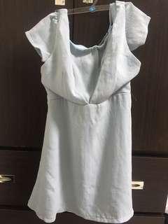 🚚 Air Space 一字領吊帶短袖洋裝