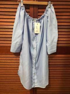 VALLEYGIRL Off Shoulder Blue Dress