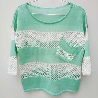 (只空1次)淡薄荷綠白間條、條子7分袖線衫/上衣 (worn once) Light mint & white strip knitwear/ top