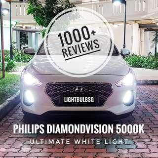Hyundai i30 on H7 philips diamondvision white car headlight bulb + installation