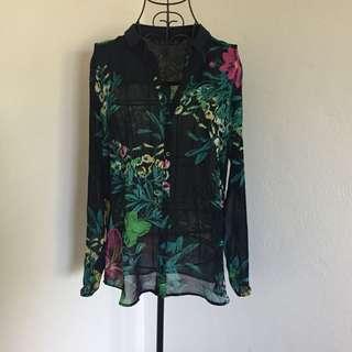 (L) Zara sheer shirt