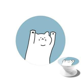 White Cat Paw Phone Pop Socket Holder