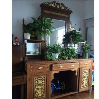 Peranakan Antique Sideboard Gold Leaf Carvings