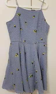 Halter Neck Fit & Flare Blue Gingham Dress with Yellow Flowers from Zalora