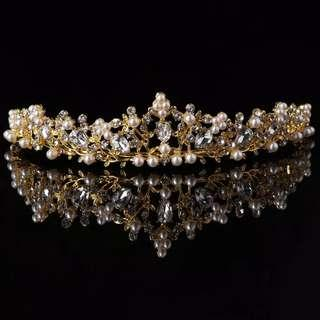 Mahkota Tiara crown gold pearl