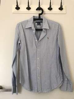 Ralph Lauren size 10 long sleeve blue stripe shirt