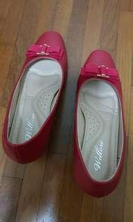 Red Heel Shoes with Ribbon