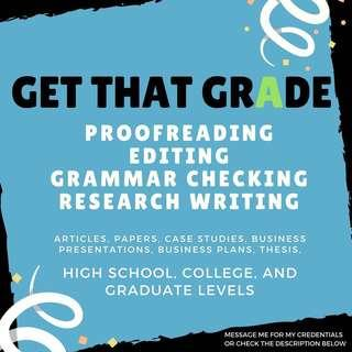 Proofreading, Editing, Grammar Checking, and Research Writing (English Language - High School / College / Graduate Levels)