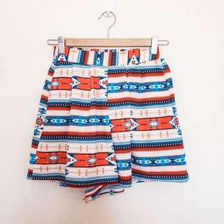 ORANGE, BLUE AND WHITE PATTERNED SHORTS