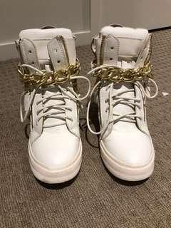 White & gold high tops hidden heel