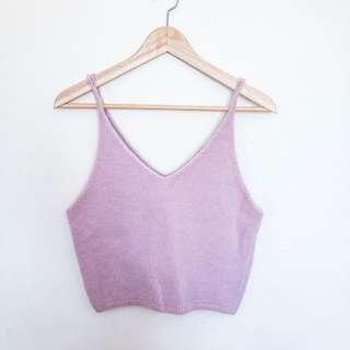[SPINNS] SOFT AND FLUFFY PINK V-NECK SINGLET TOP