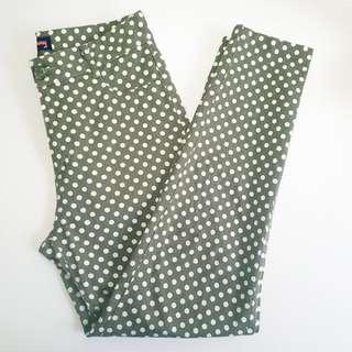 PRINCESS HIGHWAY - Size 8 - Green and White Dotty Jeans