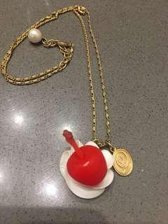 Qpot Cherry and whipped cream necklace