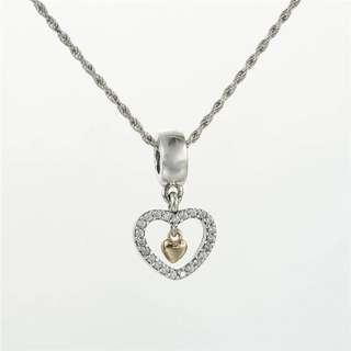 Code SS648 - Double Love Forever In My Heart 100% 925 Sterling Silver Charm, Chain Is Not Included, Compatible With Pandora