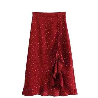 BNWT Red midi skirt