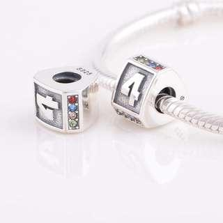 Code MS205 - Number Four 4 100% 925 Sterling Silver Charm, Chain Is Not Included, Compatible With Pandora