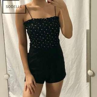 INSTOCKS Frill ruffle straight cut cami spag top (BLACK FLORAL)
