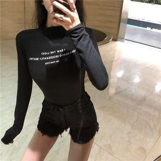🚚 BN Long Sleeve Stretchable Black Top