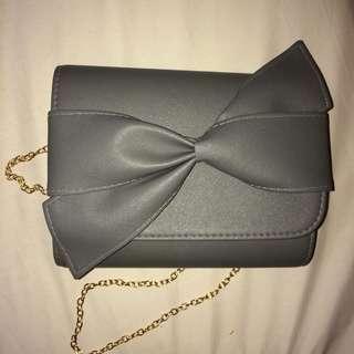 Ribbon Clutch / Sling Bag (Grey)