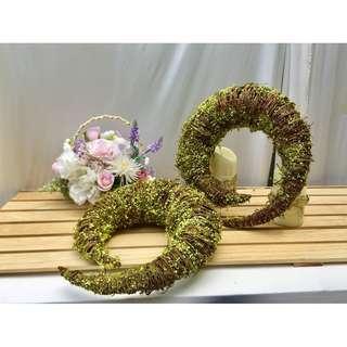 藤編牛角造型擺設2件式 花藝婚慶婚禮裝飾 攝影櫥窗道具擺件